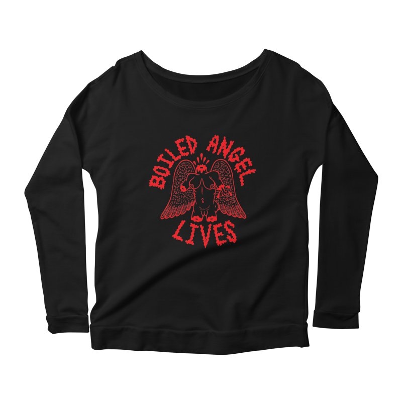 Mike Diana - BOILED ANGEL LIVES - Red Women's Scoop Neck Longsleeve T-Shirt by Mike Diana T-Shirts Mugs and More!