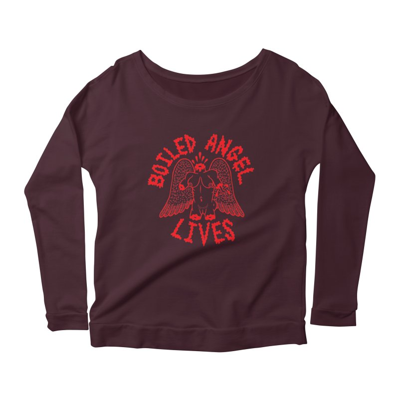 Mike Diana - BOILED ANGEL LIVES - Red Women's Scoop Neck Longsleeve T-Shirt by Mike Diana T-Shirts! Horrible Ugly Heads Limited E