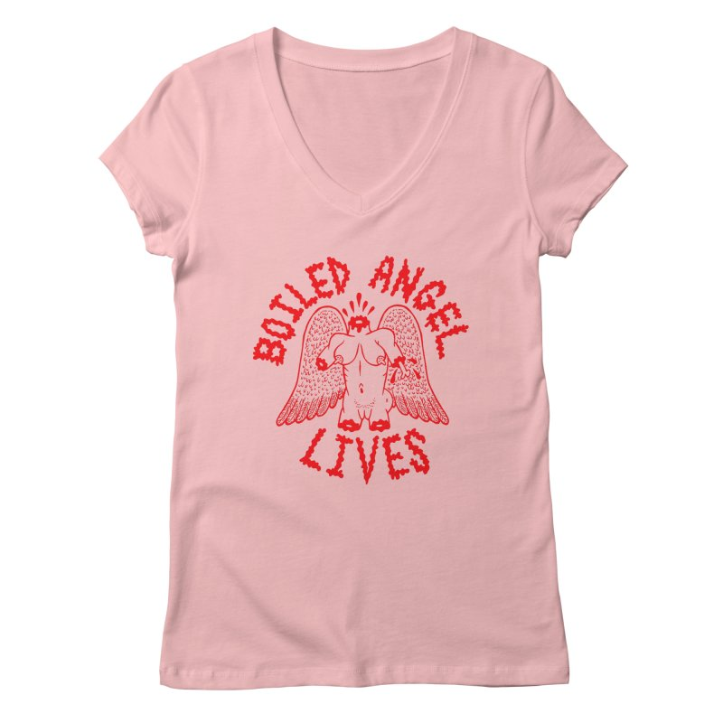 Mike Diana - BOILED ANGEL LIVES - Red Women's Regular V-Neck by Mike Diana T-Shirts Mugs and More!
