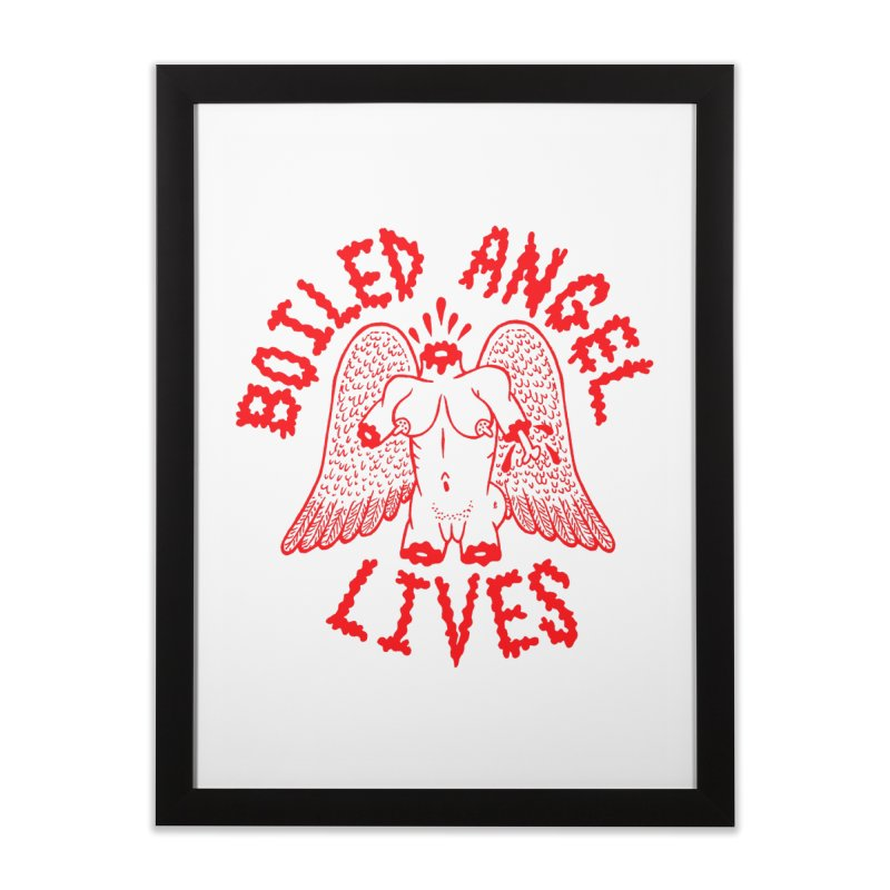 Mike Diana - BOILED ANGEL LIVES - Red Home Framed Fine Art Print by Mike Diana T-Shirts! Horrible Ugly Heads Limited E