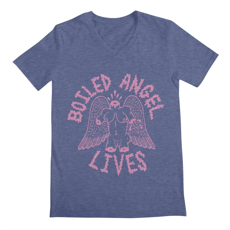 Mike Diana - BOILED ANGEL LIVES - Pink Men's Regular V-Neck by Mike Diana T-Shirts Mugs and More!