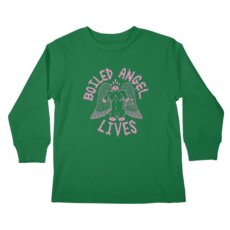 Mike Diana - BOILED ANGEL LIVES - Pink Kids Longsleeve T-Shirt by Mike Diana T-Shirts Mugs and More!