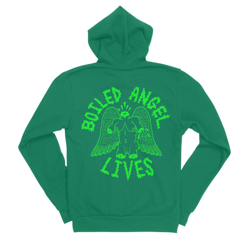 Mike Diana - BOILED ANGEL LIVES - Green Logo Women's Sponge Fleece Zip-Up Hoody by Mike Diana T-Shirts! Horrible Ugly Heads Limited E