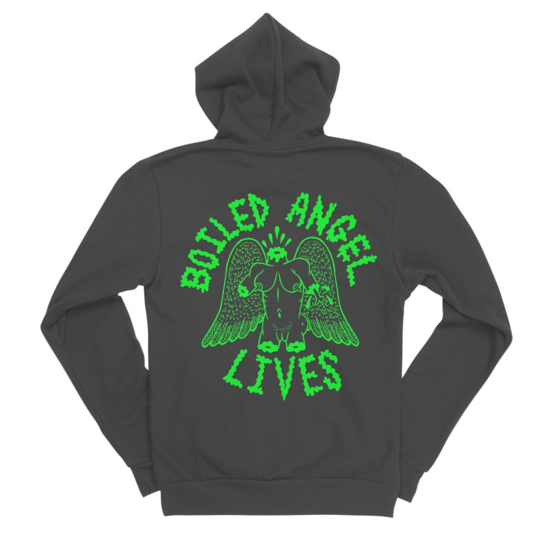Mike Diana - BOILED ANGEL LIVES - Green Logo Women's Sponge Fleece Zip-Up Hoody by Mike Diana T-Shirts Mugs and More!