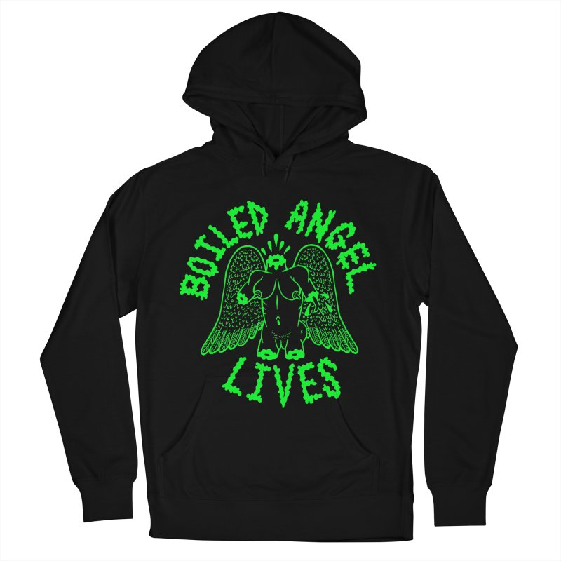 Mike Diana - BOILED ANGEL LIVES - Green Logo Women's French Terry Pullover Hoody by Mike Diana T-Shirts! Horrible Ugly Heads Limited E