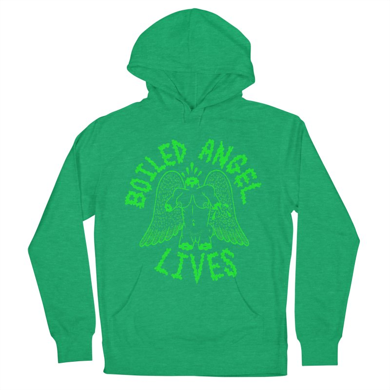 Mike Diana - BOILED ANGEL LIVES - Green Logo Men's French Terry Pullover Hoody by Mike Diana T-Shirts! Horrible Ugly Heads Limited E