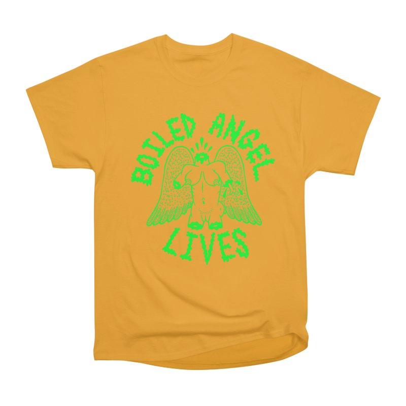 Mike Diana - BOILED ANGEL LIVES - Green Logo Women's Heavyweight Unisex T-Shirt by Mike Diana T-Shirts Mugs and More!