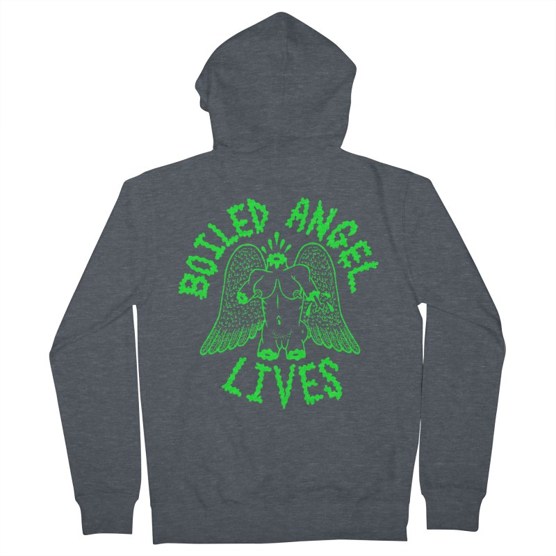 Mike Diana - BOILED ANGEL LIVES - Green Logo Women's French Terry Zip-Up Hoody by Mike Diana T-Shirts! Horrible Ugly Heads Limited E