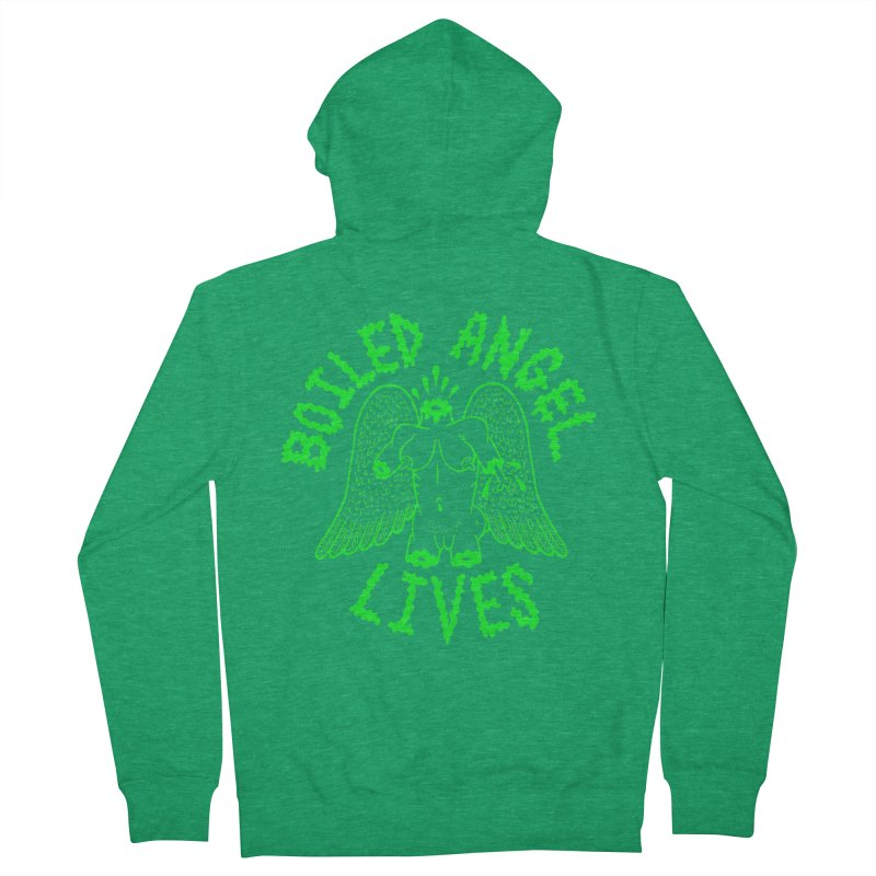 Mike Diana - BOILED ANGEL LIVES - Green Logo Men's French Terry Zip-Up Hoody by Mike Diana T-Shirts! Horrible Ugly Heads Limited E