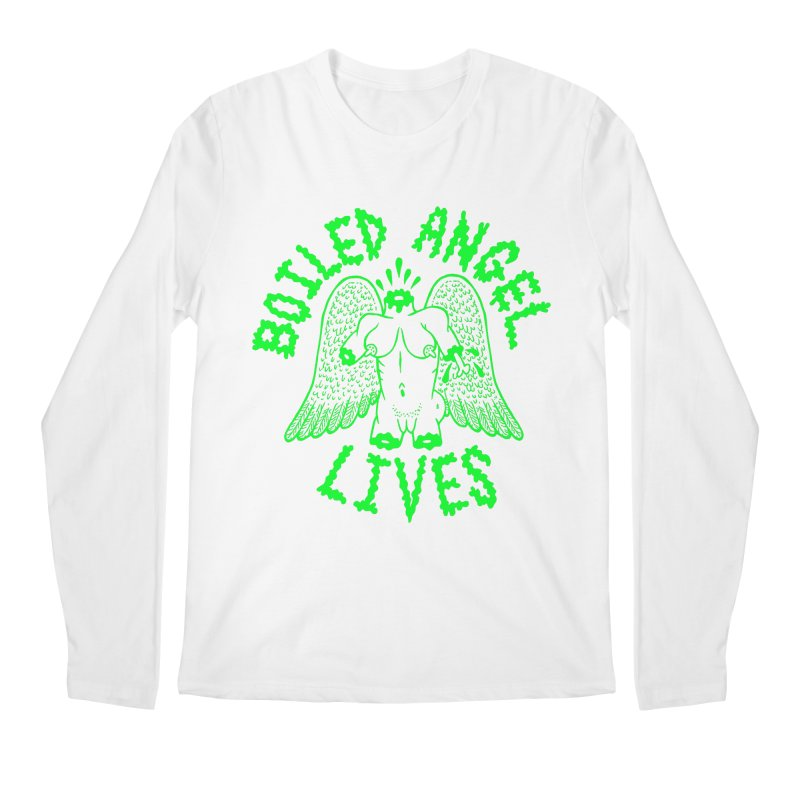 Mike Diana - BOILED ANGEL LIVES - Green Logo Men's Regular Longsleeve T-Shirt by Mike Diana T-Shirts! Horrible Ugly Heads Limited E
