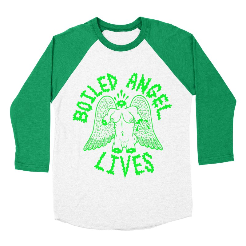 Mike Diana - BOILED ANGEL LIVES - Green Logo Women's Baseball Triblend Longsleeve T-Shirt by Mike Diana T-Shirts! Horrible Ugly Heads Limited E