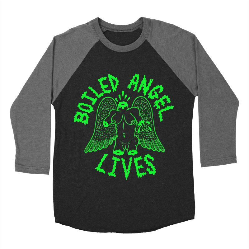 Mike Diana - BOILED ANGEL LIVES - Green Logo Men's Baseball Triblend Longsleeve T-Shirt by Mike Diana T-Shirts! Horrible Ugly Heads Limited E