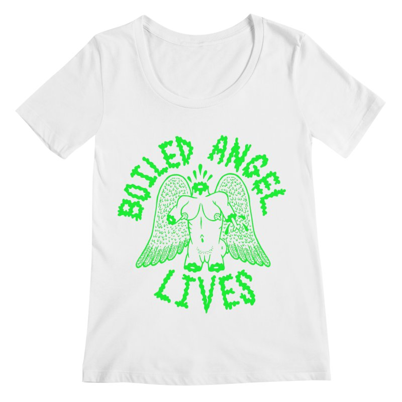 Mike Diana - BOILED ANGEL LIVES - Green Logo Women's Regular Scoop Neck by Mike Diana T-Shirts Mugs and More!