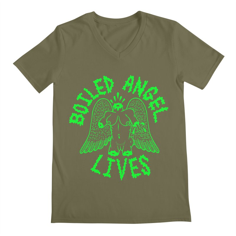 Mike Diana - BOILED ANGEL LIVES - Green Logo Men's Regular V-Neck by Mike Diana T-Shirts Mugs and More!