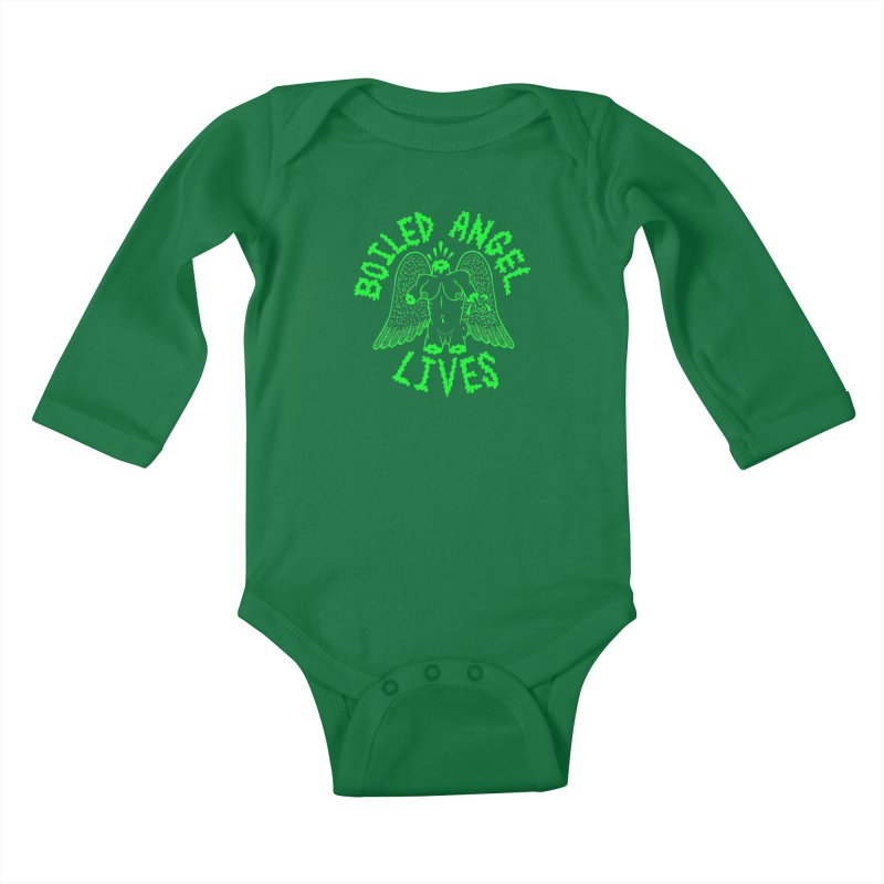 Mike Diana - BOILED ANGEL LIVES - Green Logo Kids Baby Longsleeve Bodysuit by Mike Diana T-Shirts! Horrible Ugly Heads Limited E
