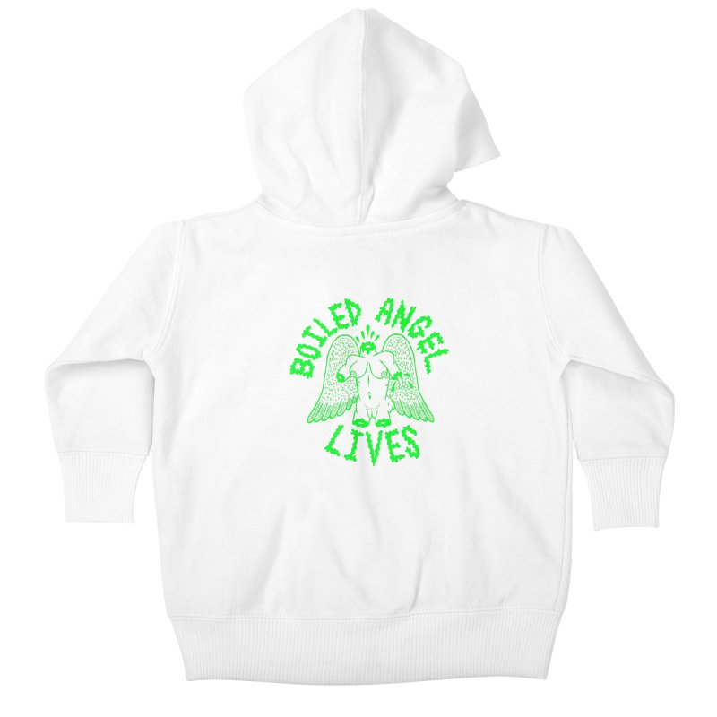 Mike Diana - BOILED ANGEL LIVES - Green Logo Kids Baby Zip-Up Hoody by Mike Diana T-Shirts! Horrible Ugly Heads Limited E