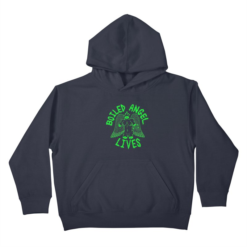 Mike Diana - BOILED ANGEL LIVES - Green Logo Kids Pullover Hoody by Mike Diana T-Shirts! Horrible Ugly Heads Limited E