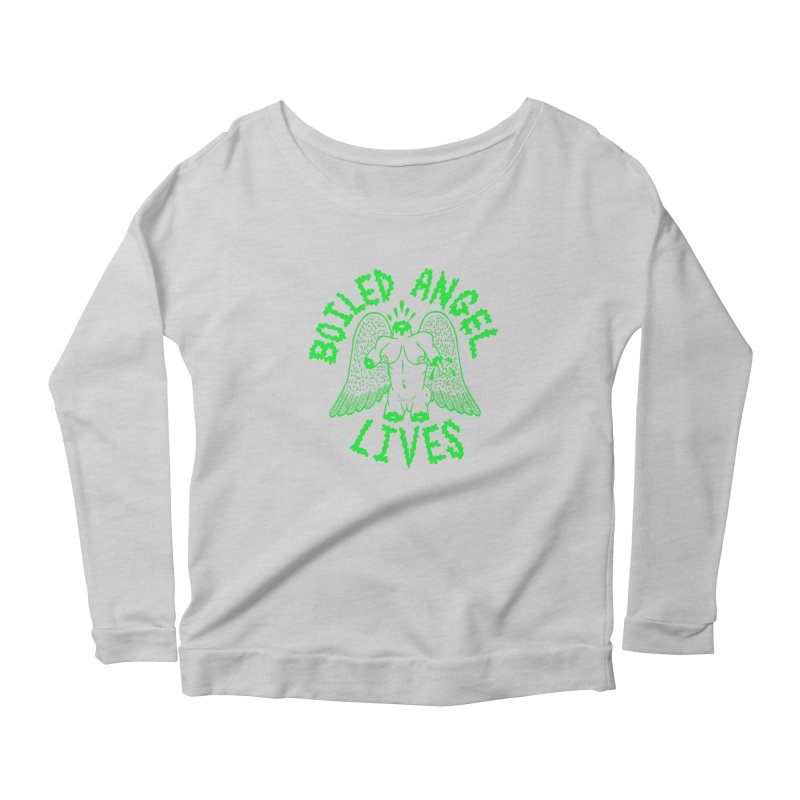 Mike Diana - BOILED ANGEL LIVES - Green Logo Women's Scoop Neck Longsleeve T-Shirt by Mike Diana T-Shirts Mugs and More!