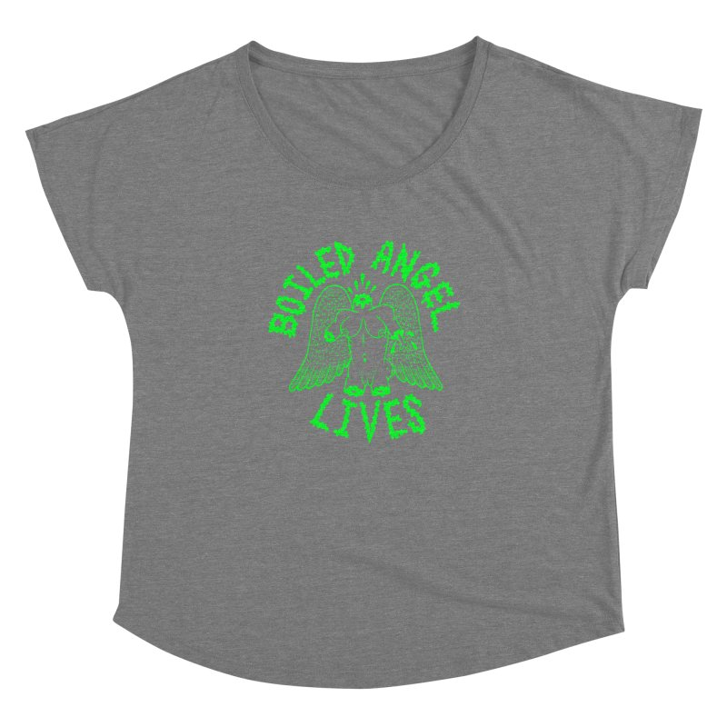 Mike Diana - BOILED ANGEL LIVES - Green Logo Women's Dolman Scoop Neck by Mike Diana T-Shirts! Horrible Ugly Heads Limited E