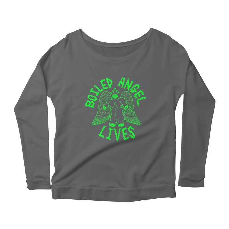 Mike Diana - BOILED ANGEL LIVES - Green Logo Women's Scoop Neck Longsleeve T-Shirt by Mike Diana T-Shirts! Horrible Ugly Heads Limited E