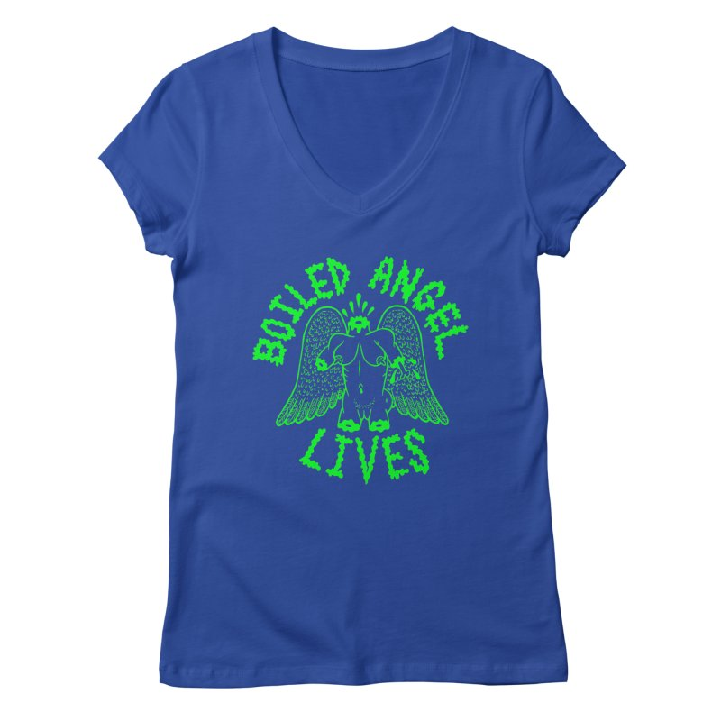Mike Diana - BOILED ANGEL LIVES - Green Logo Women's Regular V-Neck by Mike Diana T-Shirts Mugs and More!