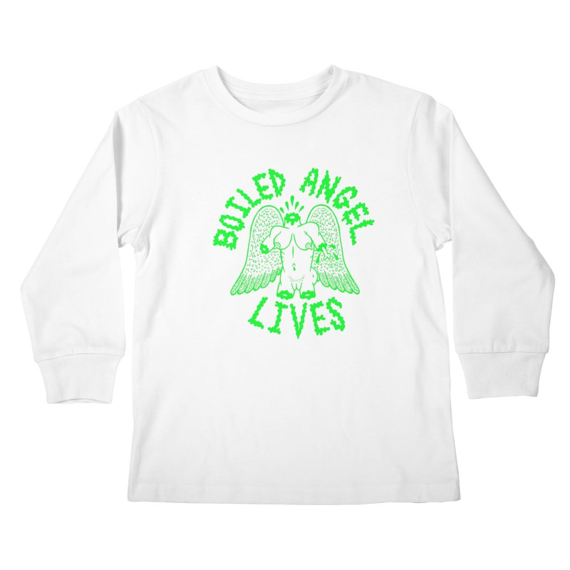 Mike Diana - BOILED ANGEL LIVES - Green Logo Kids Longsleeve T-Shirt by Mike Diana T-Shirts! Horrible Ugly Heads Limited E