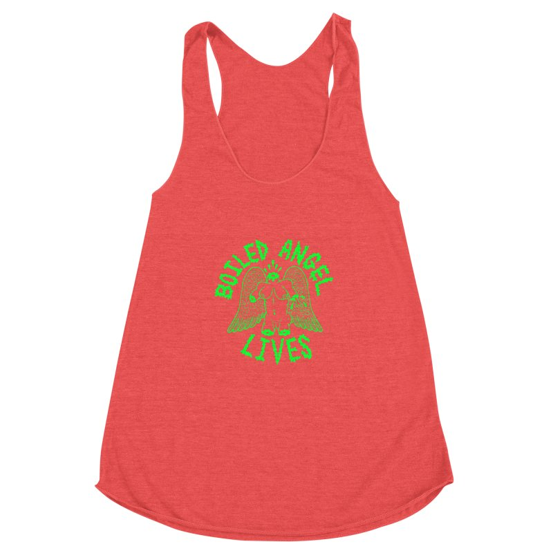 Mike Diana - BOILED ANGEL LIVES - Green Logo Women's Racerback Triblend Tank by Mike Diana T-Shirts Mugs and More!