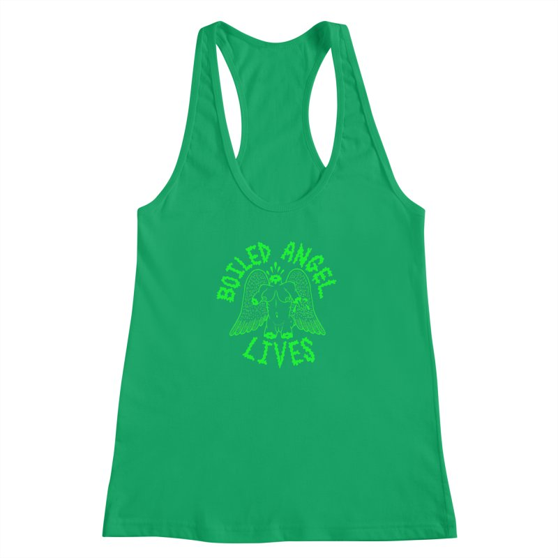 Mike Diana - BOILED ANGEL LIVES - Green Logo Women's Racerback Tank by Mike Diana T-Shirts Mugs and More!