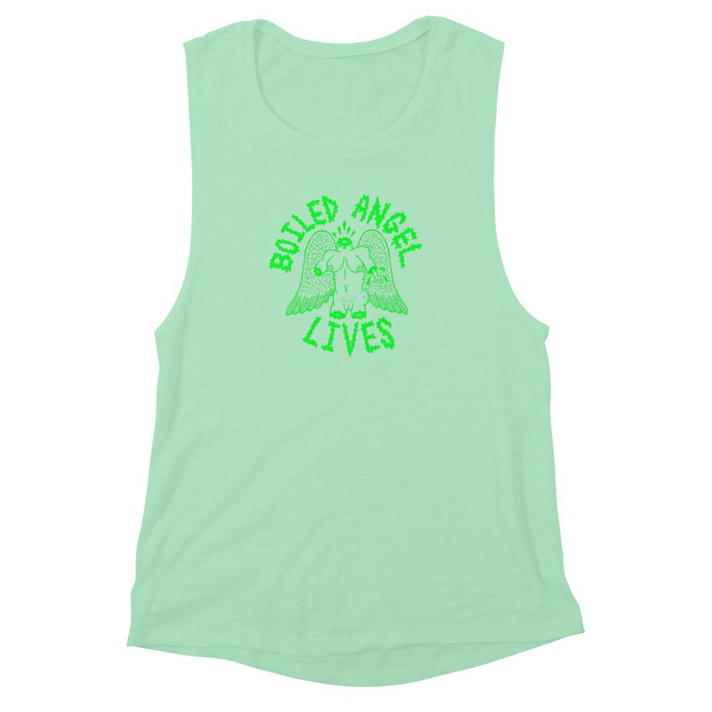 Mike Diana - BOILED ANGEL LIVES - Green Logo Women's Muscle Tank by Mike Diana T-Shirts Mugs and More!