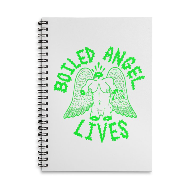 Mike Diana - BOILED ANGEL LIVES - Green Logo Accessories Lined Spiral Notebook by Mike Diana T-Shirts Mugs and More!