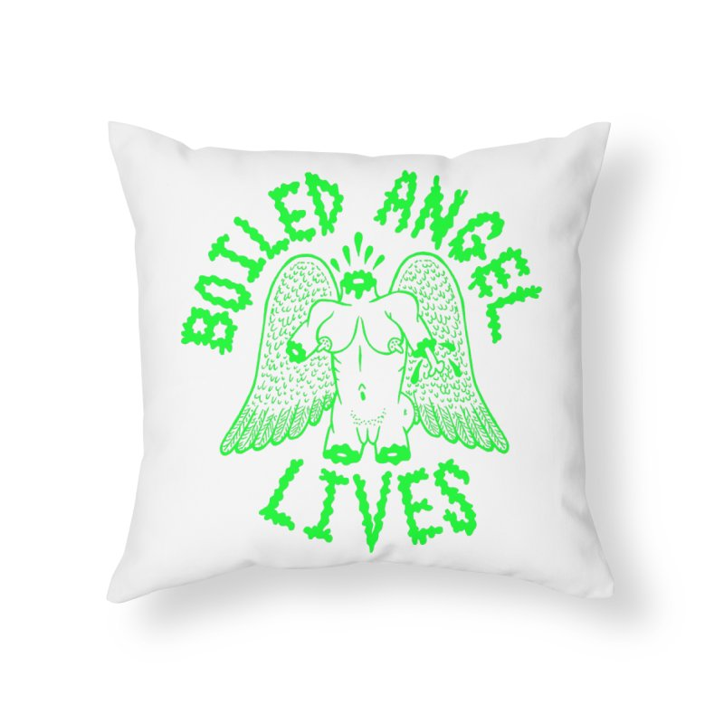 Mike Diana - BOILED ANGEL LIVES - Green Logo Home Throw Pillow by Mike Diana T-Shirts Mugs and More!