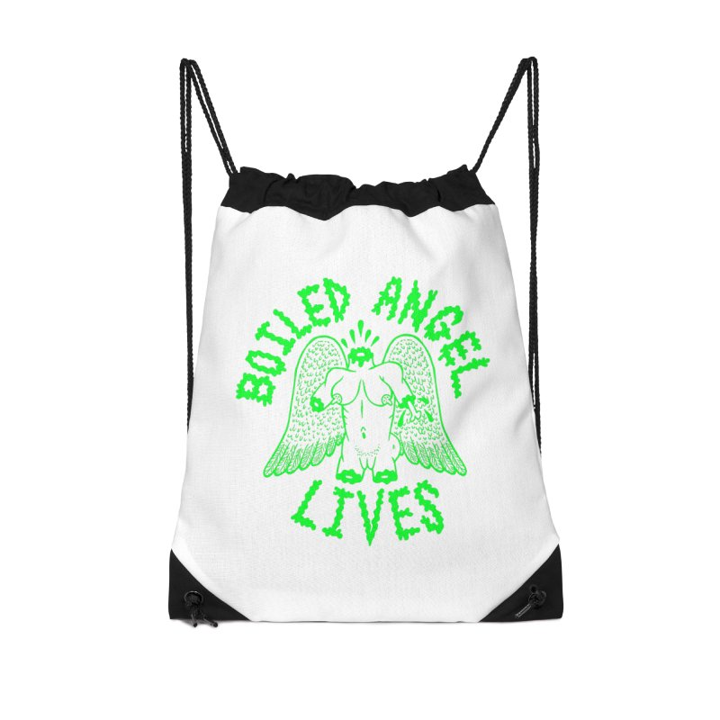 Mike Diana - BOILED ANGEL LIVES - Green Logo Accessories Drawstring Bag Bag by Mike Diana T-Shirts Mugs and More!