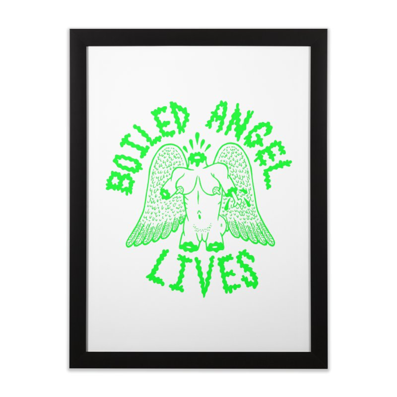 Mike Diana - BOILED ANGEL LIVES - Green Logo Home Framed Fine Art Print by Mike Diana T-Shirts! Horrible Ugly Heads Limited E