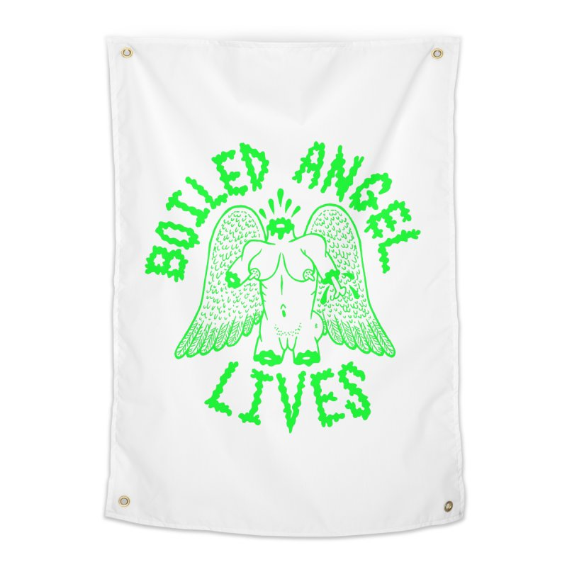 Mike Diana - BOILED ANGEL LIVES - Green Logo Home Tapestry by Mike Diana T-Shirts! Horrible Ugly Heads Limited E