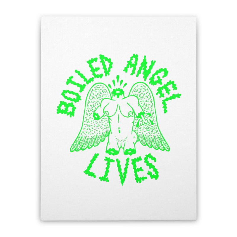 Mike Diana - BOILED ANGEL LIVES - Green Logo Home Stretched Canvas by Mike Diana T-Shirts! Horrible Ugly Heads Limited E