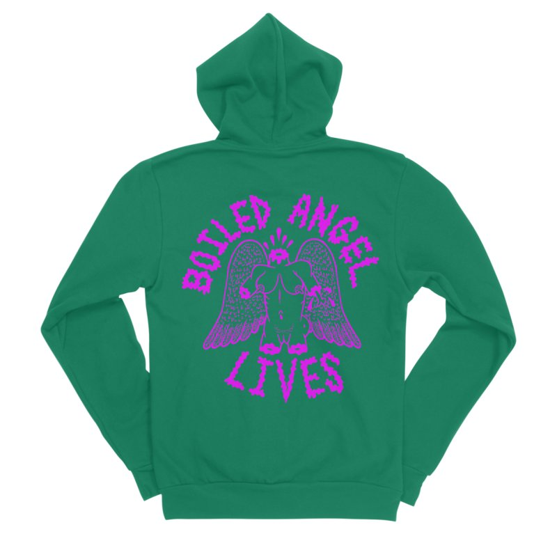Mike Diana BOILED ANGEL LIVES - Purple Women's Sponge Fleece Zip-Up Hoody by Mike Diana T-Shirts! Horrible Ugly Heads Limited E