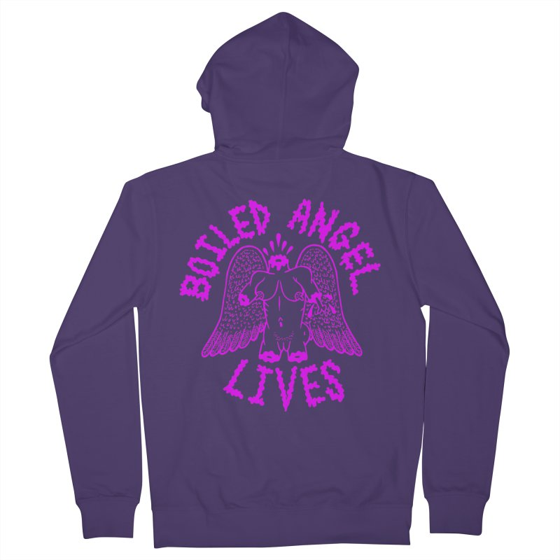 Mike Diana BOILED ANGEL LIVES - Purple Women's French Terry Zip-Up Hoody by Mike Diana T-Shirts! Horrible Ugly Heads Limited E