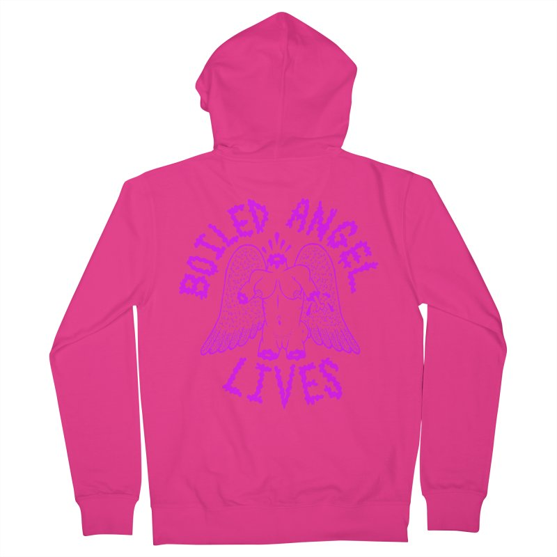 Mike Diana BOILED ANGEL LIVES - Purple Men's French Terry Zip-Up Hoody by Mike Diana T-Shirts! Horrible Ugly Heads Limited E