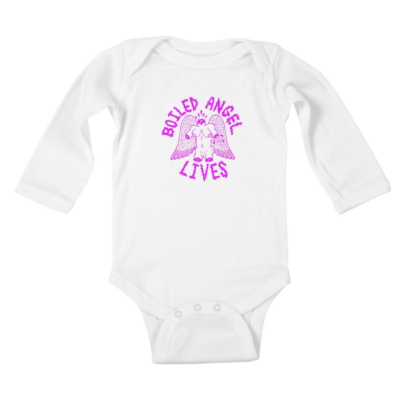 Mike Diana BOILED ANGEL LIVES - Purple Kids Baby Longsleeve Bodysuit by Mike Diana T-Shirts! Horrible Ugly Heads Limited E