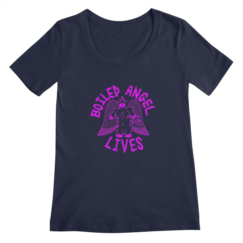 Mike Diana BOILED ANGEL LIVES - Purple Women's Regular Scoop Neck by Mike Diana T-Shirts! Horrible Ugly Heads Limited E