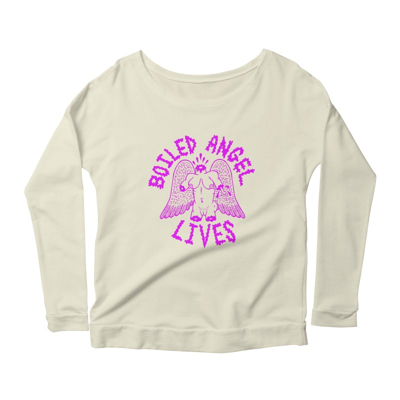 Mike Diana BOILED ANGEL LIVES - Purple Women's Scoop Neck Longsleeve T-Shirt by Mike Diana T-Shirts! Horrible Ugly Heads Limited E