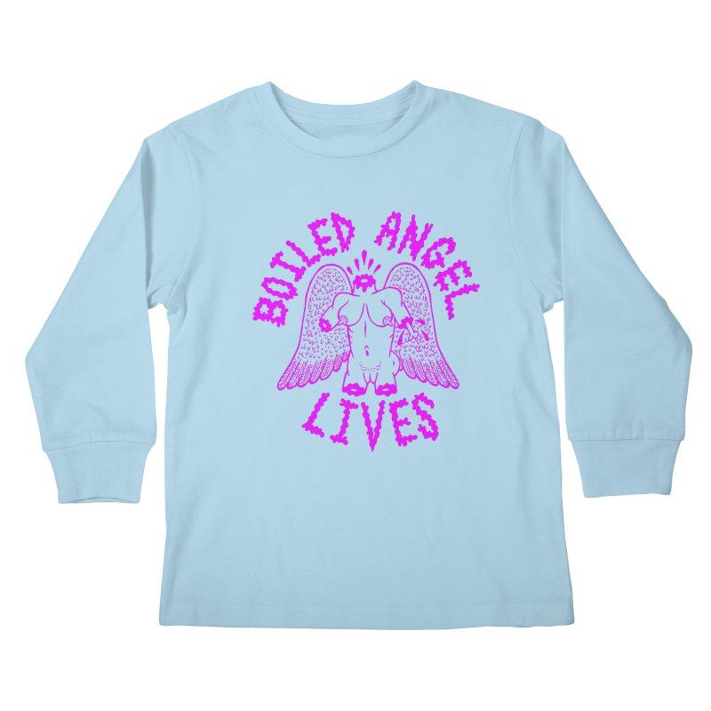 Mike Diana BOILED ANGEL LIVES - Purple Kids Longsleeve T-Shirt by Mike Diana T-Shirts! Horrible Ugly Heads Limited E
