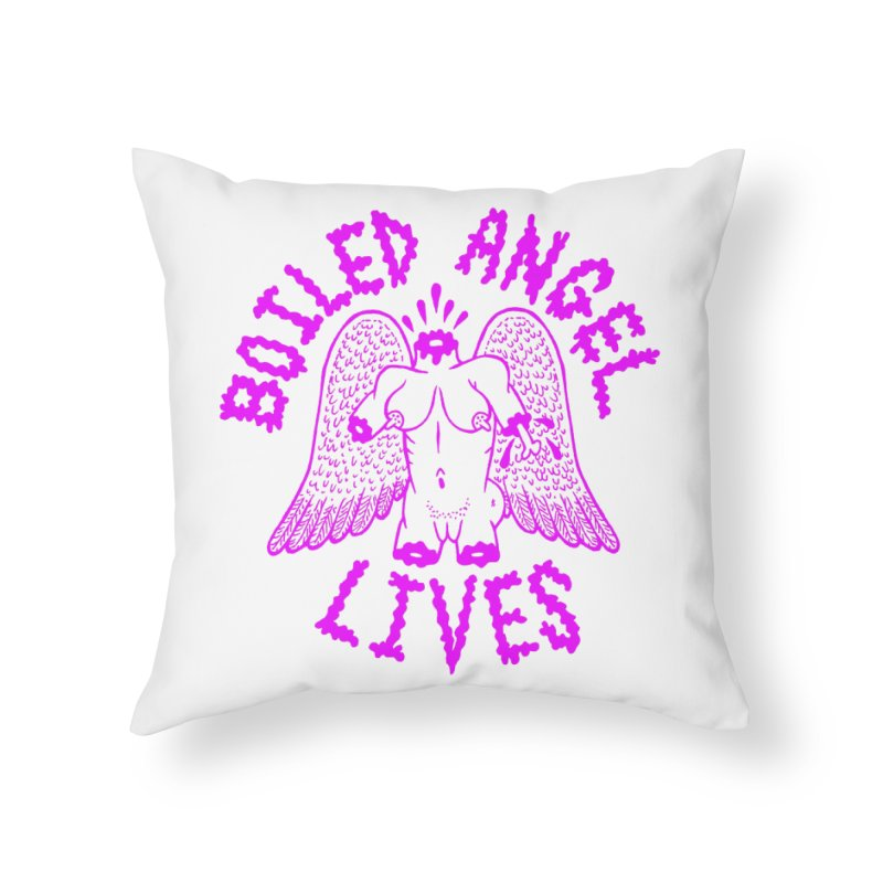 Mike Diana BOILED ANGEL LIVES - Purple Home Throw Pillow by Mike Diana T-Shirts Mugs and More!