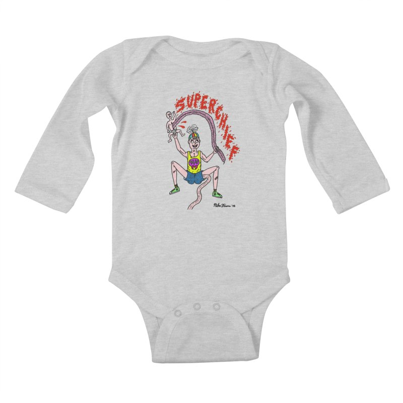 Mike Diana Superchief Kid Kids Baby Longsleeve Bodysuit by Mike Diana T-Shirts! Horrible Ugly Heads Limited E