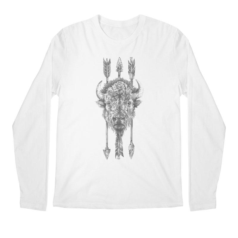 Bison Sketched Men's Regular Longsleeve T-Shirt by Mike Kavanagh's Artist Shop