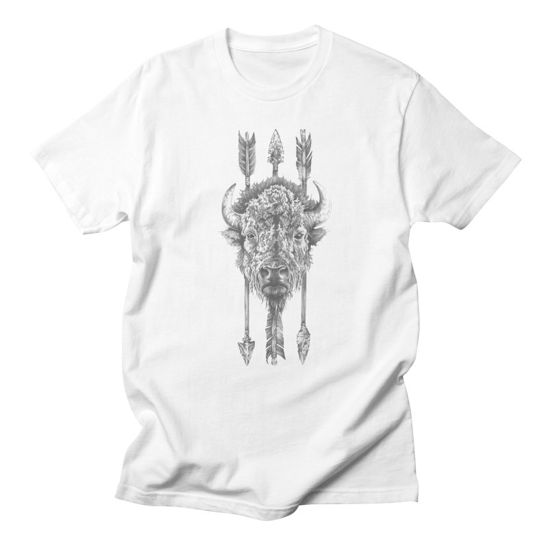 Bison Sketched in Men's Regular T-Shirt White by Mike Kavanagh's Artist Shop