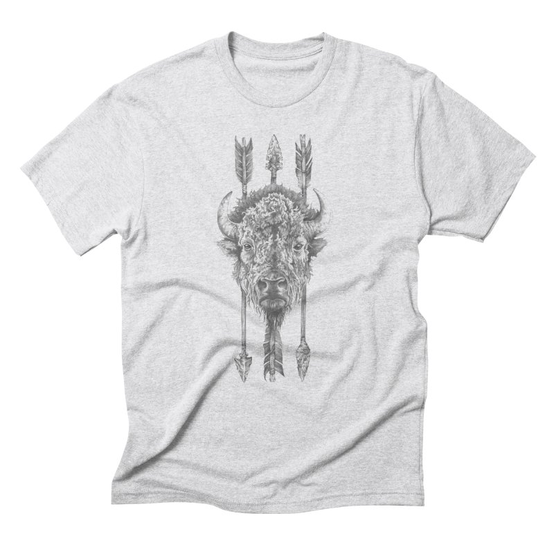 Bison Sketched Men's Triblend T-Shirt by Mike Kavanagh's Artist Shop