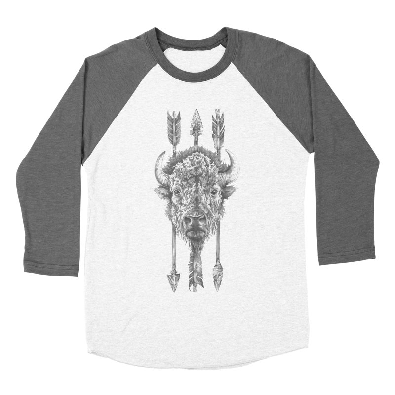 Bison Sketched Women's Baseball Triblend Longsleeve T-Shirt by Mike Kavanagh's Artist Shop