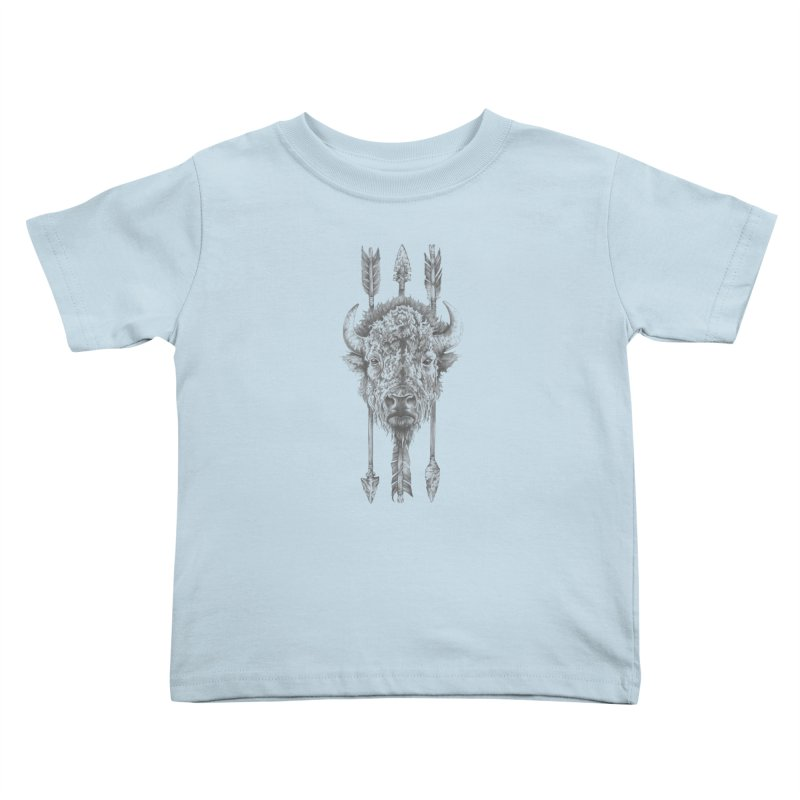 Bison Sketched Kids Toddler T-Shirt by Mike Kavanagh's Artist Shop