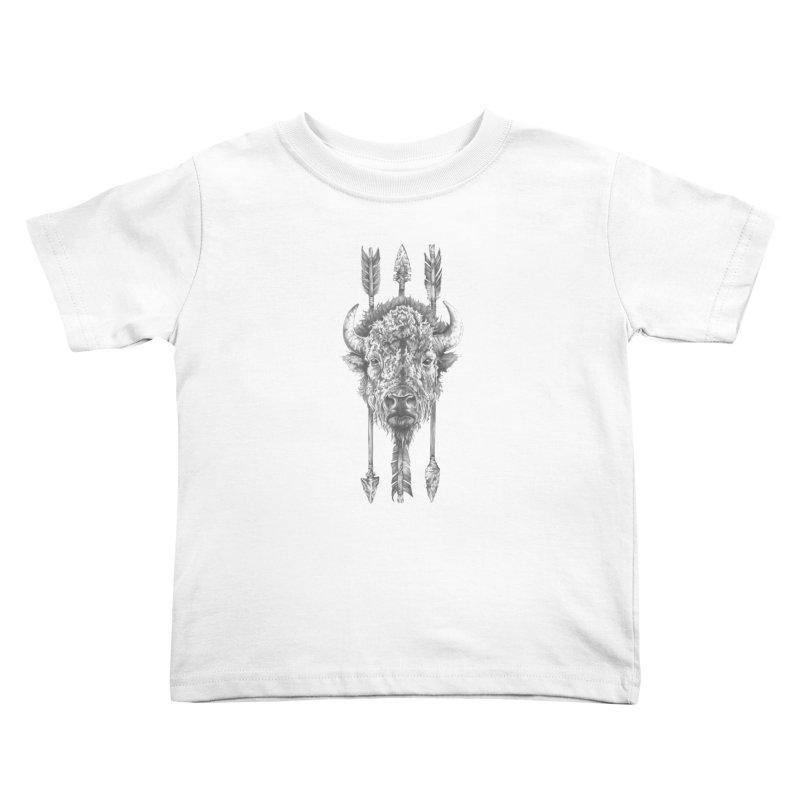 Bison Sketched Kids Toddler T-Shirt by Mike Kavanagh's Artist Shop